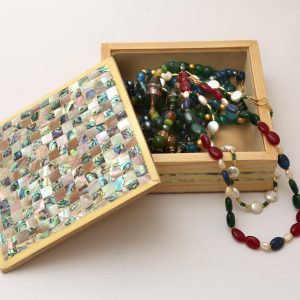 Jewelry Wooden Box inlayed with Mother of Pearl -Square Shape-