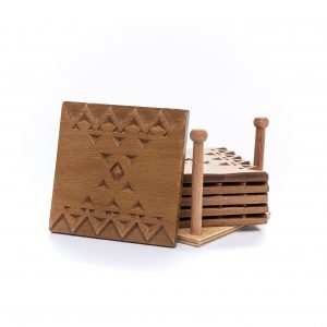 Hand Carved Coasters inspired by Geometric Pattern -Set of 6 Pieces-